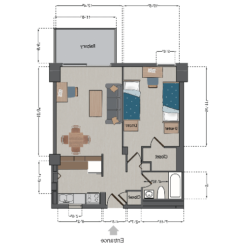 Double Apartment (One Shared Bedroom)