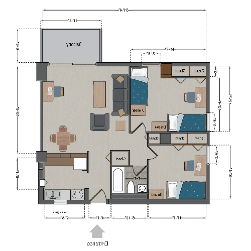 Triple Apartment (2 bedrooms, 3 people)